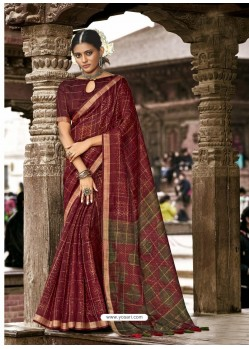 Maroon Latest Casual Wear Designer Printed Soft Cotton Sari