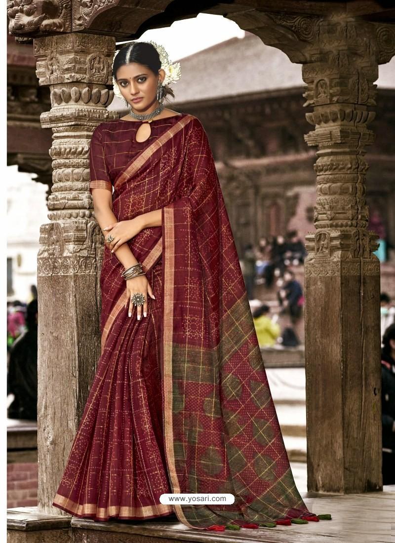 Maroon Latest Casual Wear Designer Printed Soft Cotton Sari