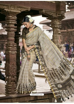 Light Grey Latest Casual Wear Designer Printed Soft Cotton Sari