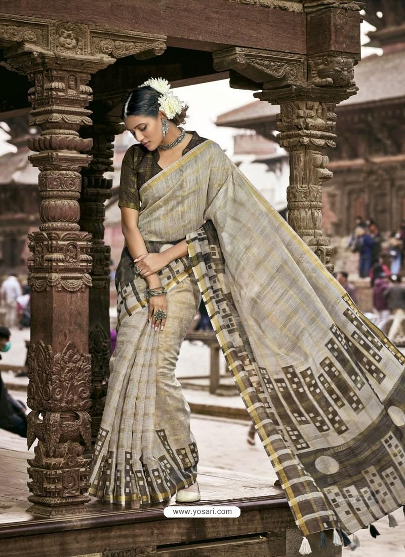 Light Grey Latest Casual Wear Designer Printed Soft Cotton Sari