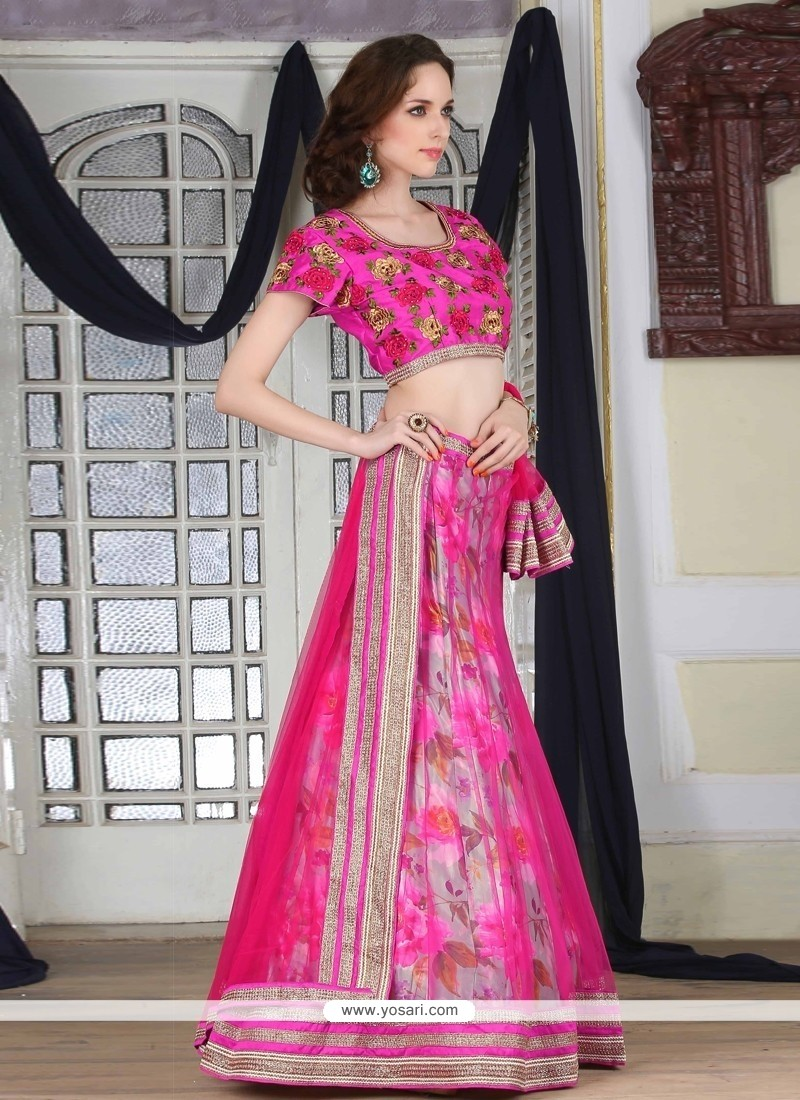 Magnificent Patch Border Work Hot Pink Net A Line Lehenga Choli