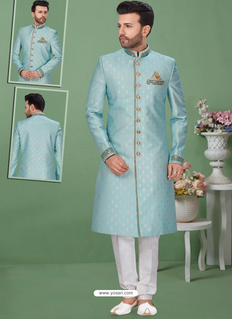 Sky Blue Readymade Designer Indo Western Sherwani