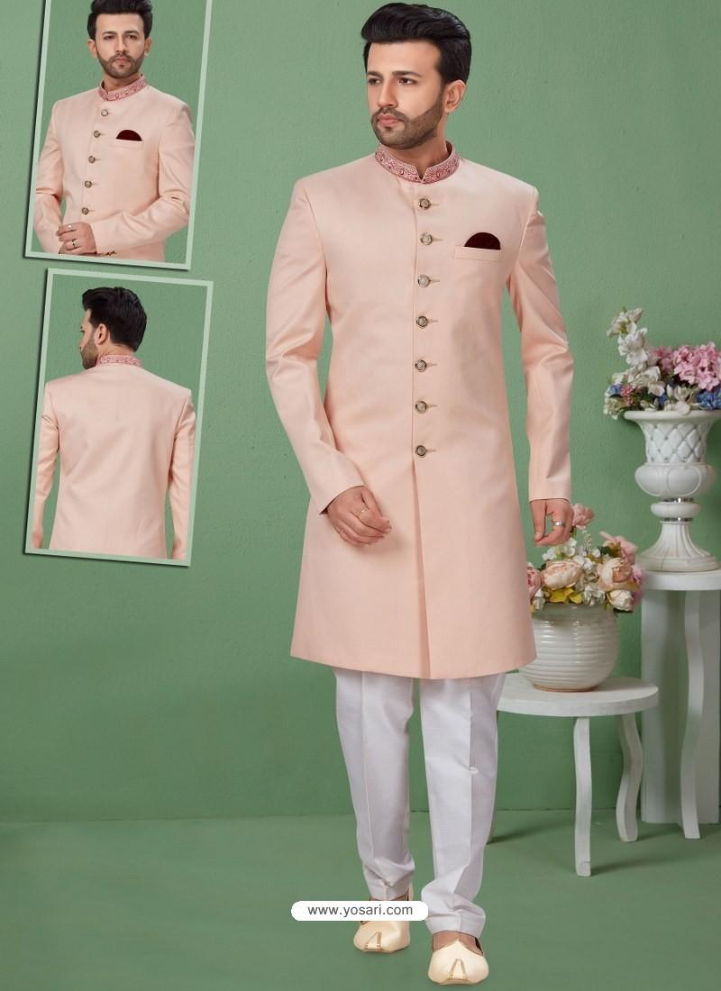 Baby Pink Readymade Designer Indo Western Sherwani