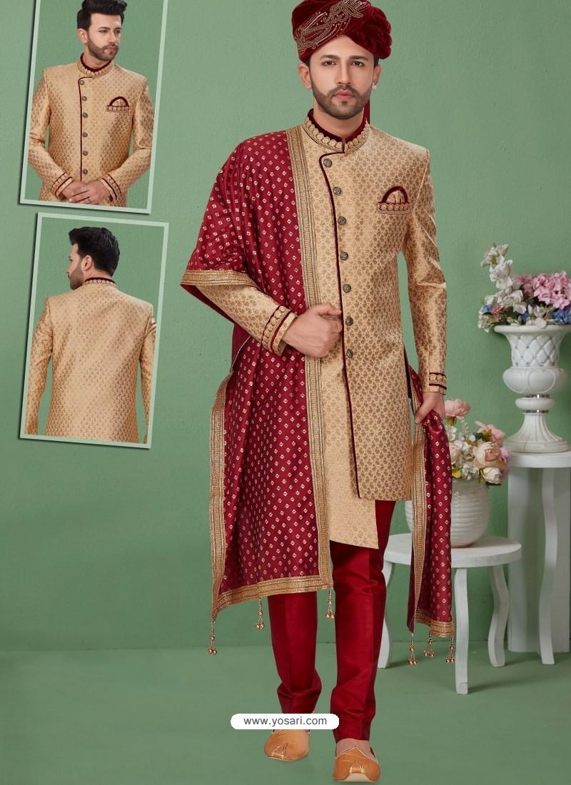 Beige Readymade Designer Indo Western Sherwani