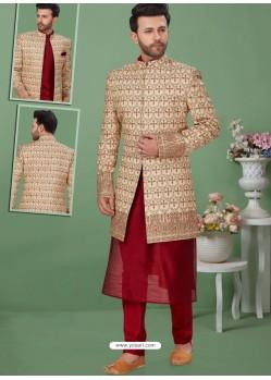 Light Beige Readymade Designer Indo Western Sherwani