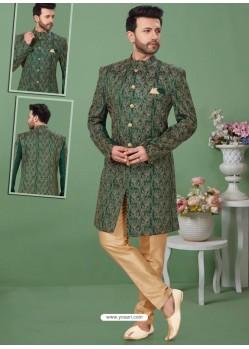 Dark Green Readymade Designer Indo Western Sherwani