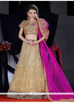 Impeccable Net Zari Work A Line Lehenga Choli
