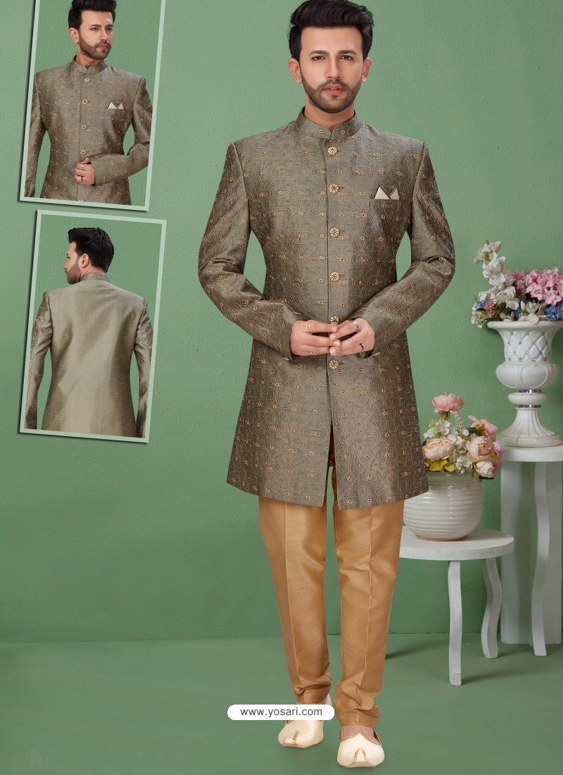Grey Readymade Designer Indo Western Sherwani