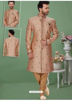 Light Brown Readymade Designer Indo Western Sherwani
