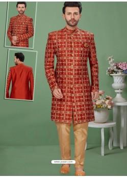 Red Readymade Designer Indo Western Sherwani