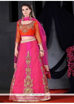 Trendy Zari Work Hot Pink Net A Line Lehenga Choli