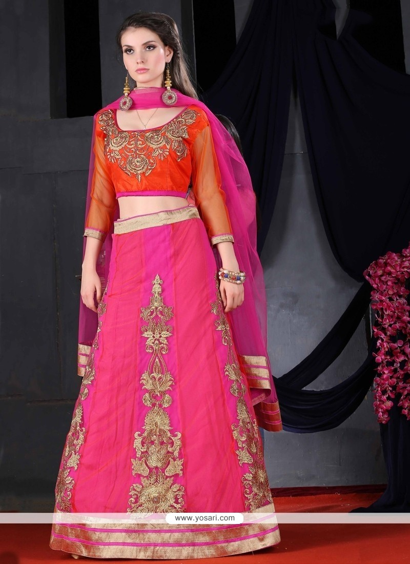 73487b4481 Shop online Trendy Zari Work Hot Pink Net A Line Lehenga Choli