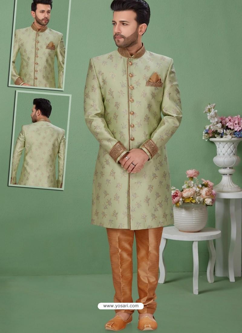 Pista Green Readymade Designer Indo Western Sherwani