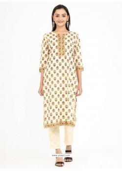 Cream Designer Readymade Party Wear Cotton Kurti With Palazzo