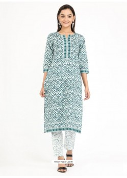 Blue Designer Readymade Party Wear Cotton Kurti With Palazzo
