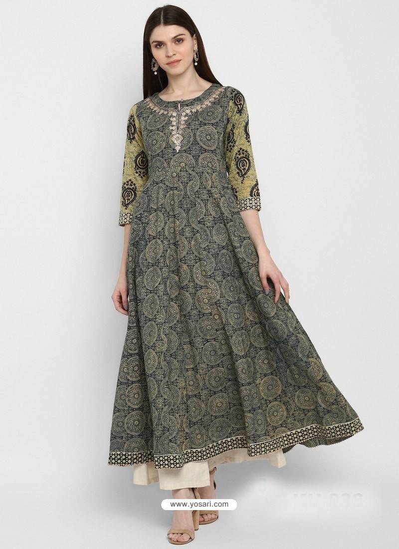 Multi Colour Designer Readymade Party Wear Cotton Kurti