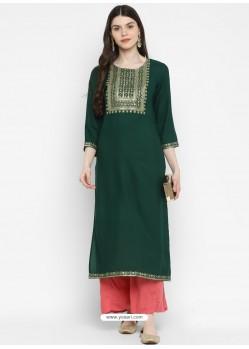 Dark Green Designer Readymade Party Wear Cotton Kurti