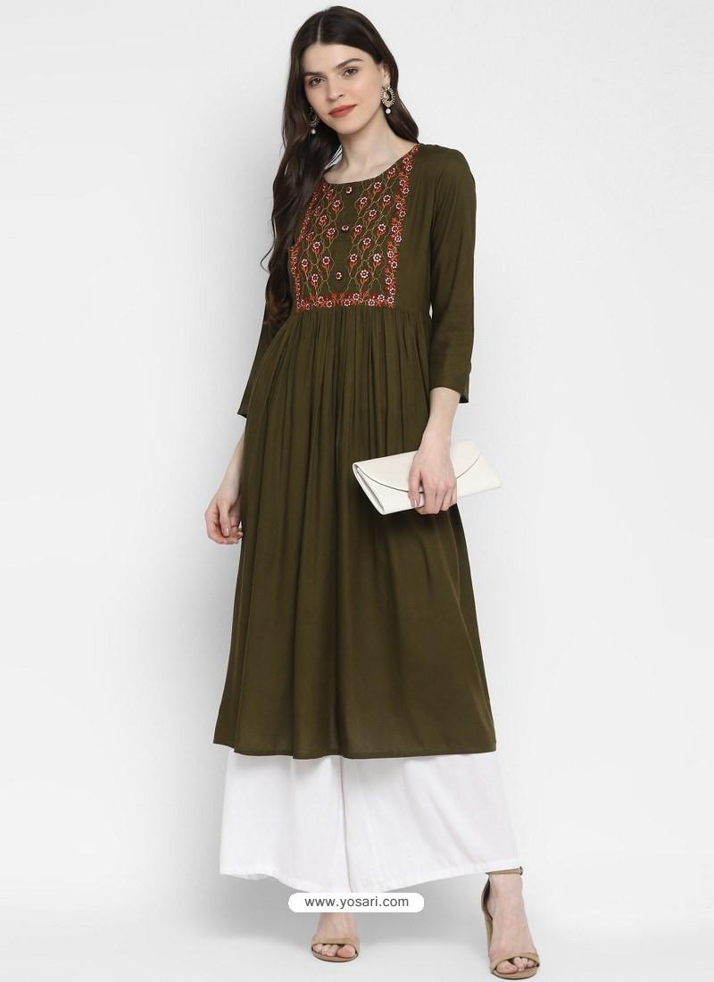 Mehendi Designer Readymade Party Wear Cotton Kurti