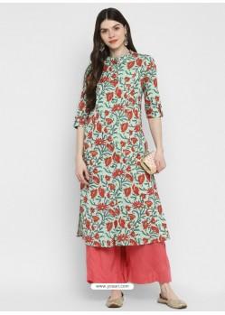 Sea Green Designer Readymade Party Wear Cotton Kurti