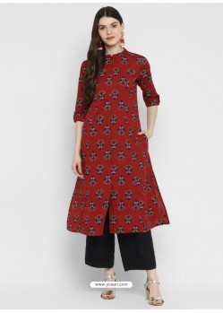 Maroon Designer Readymade Party Wear Cotton Kurti