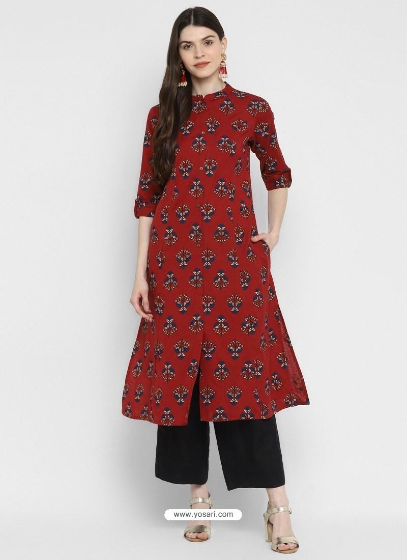Maroon Designer Readymade Party Wear Cotton Kurti