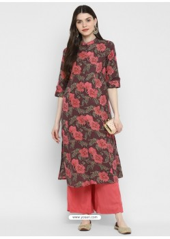 Deep Wine Designer Readymade Party Wear Cotton Kurti
