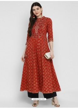 Red Designer Readymade Party Wear Cotton Kurti
