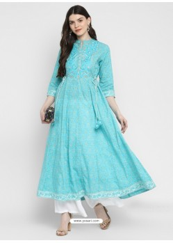 Sky Blue Designer Readymade Party Wear Cotton Kurti