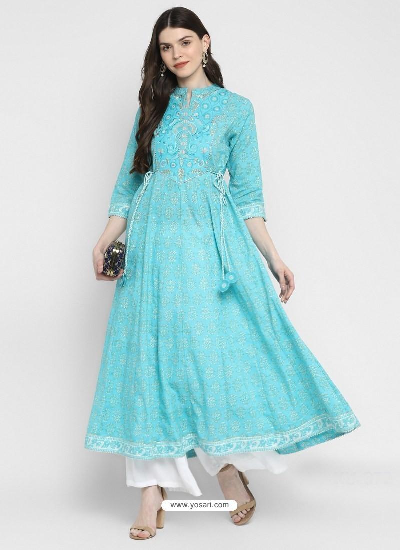 Sky Blue Designer Readymade Party Wear Cotton Kurti