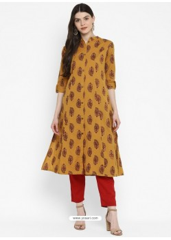 Mustard Designer Readymade Party Wear Cotton Kurti