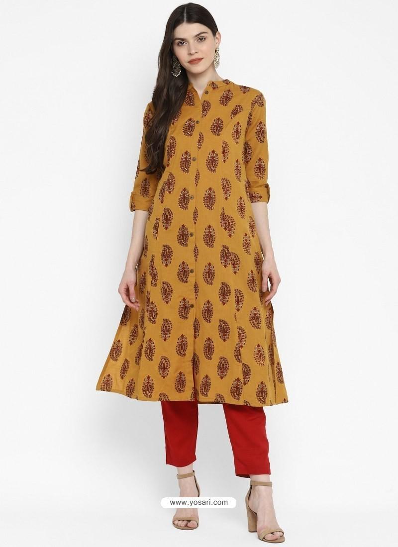 Mustard Designer Readymade Party Wear Cotton Kurti