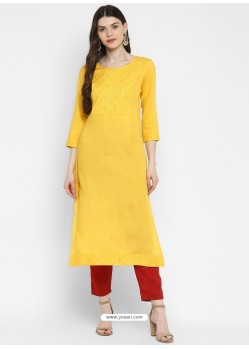 Yellow Designer Readymade Party Wear Cotton Kurti