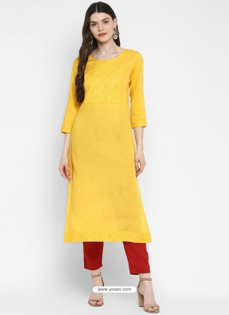 Yellow Designer Readymade Party Wear Cotton Kurti