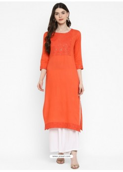 Orange Designer Readymade Party Wear Cotton Kurti