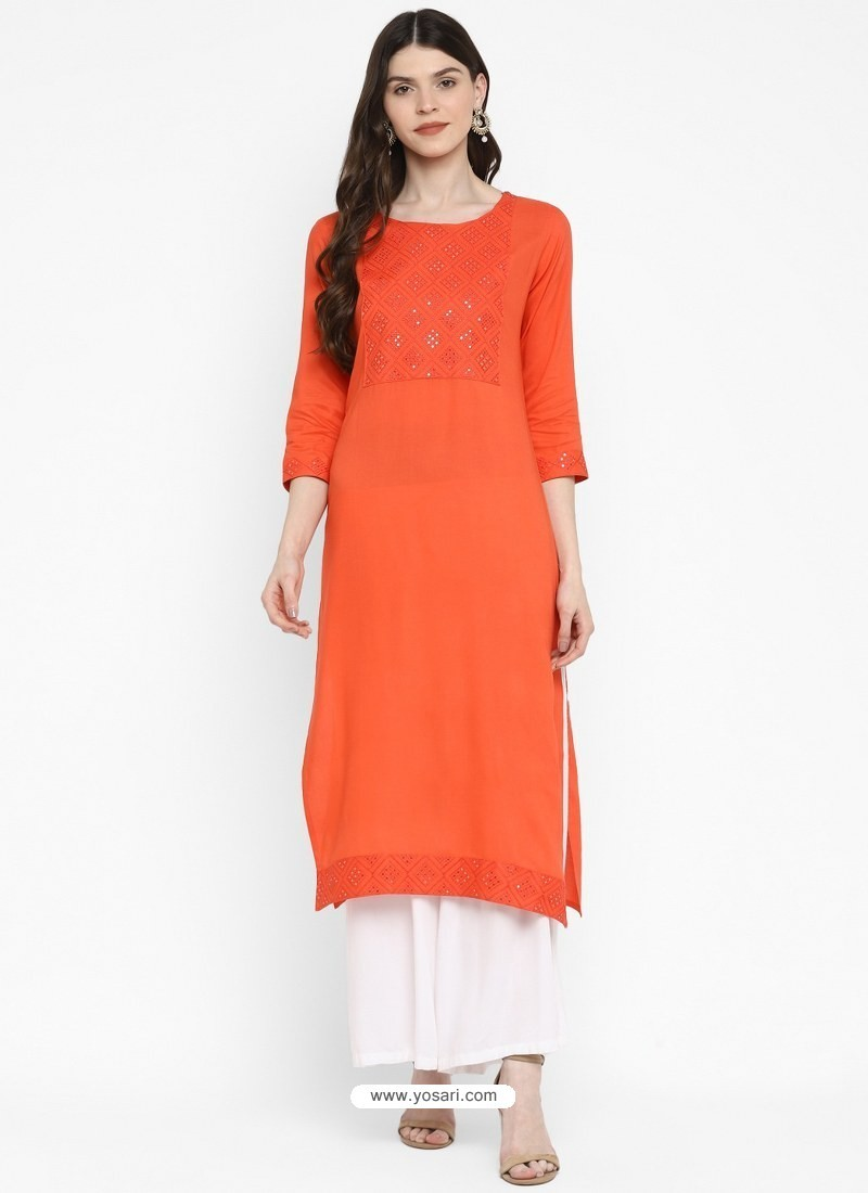 Orange Designer Readymade Party Wear Cotton Kurti