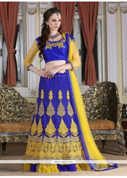 Glitzy Blue Embroidered Work Net A Line Lehenga Choli