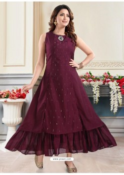 Deep Wine Designer Readymade Party Wear Gown Style Kurti