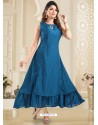 Blue Designer Readymade Party Wear Gown Style Kurti
