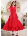 Red Designer Readymade Party Wear Gown Style Kurti