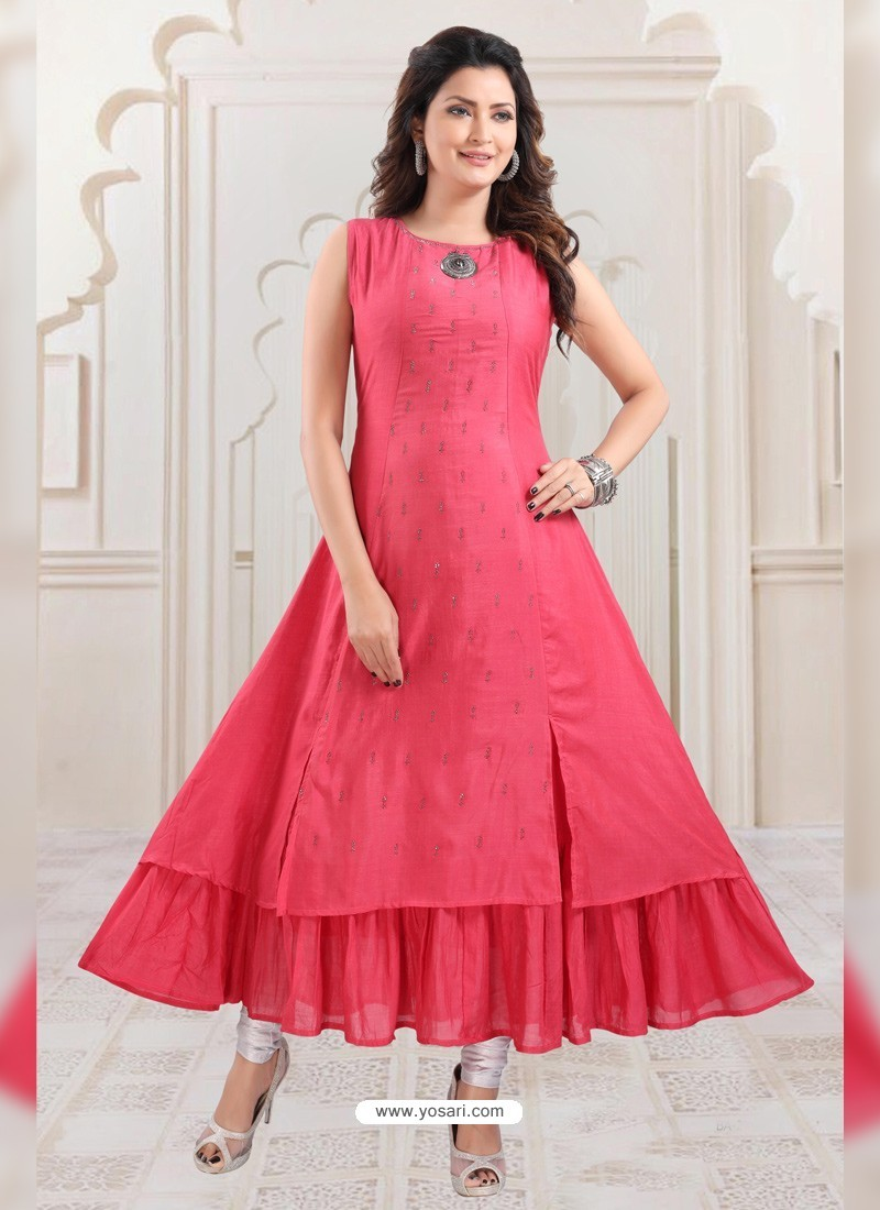 Peach Designer Readymade Party Wear Gown Style Kurti