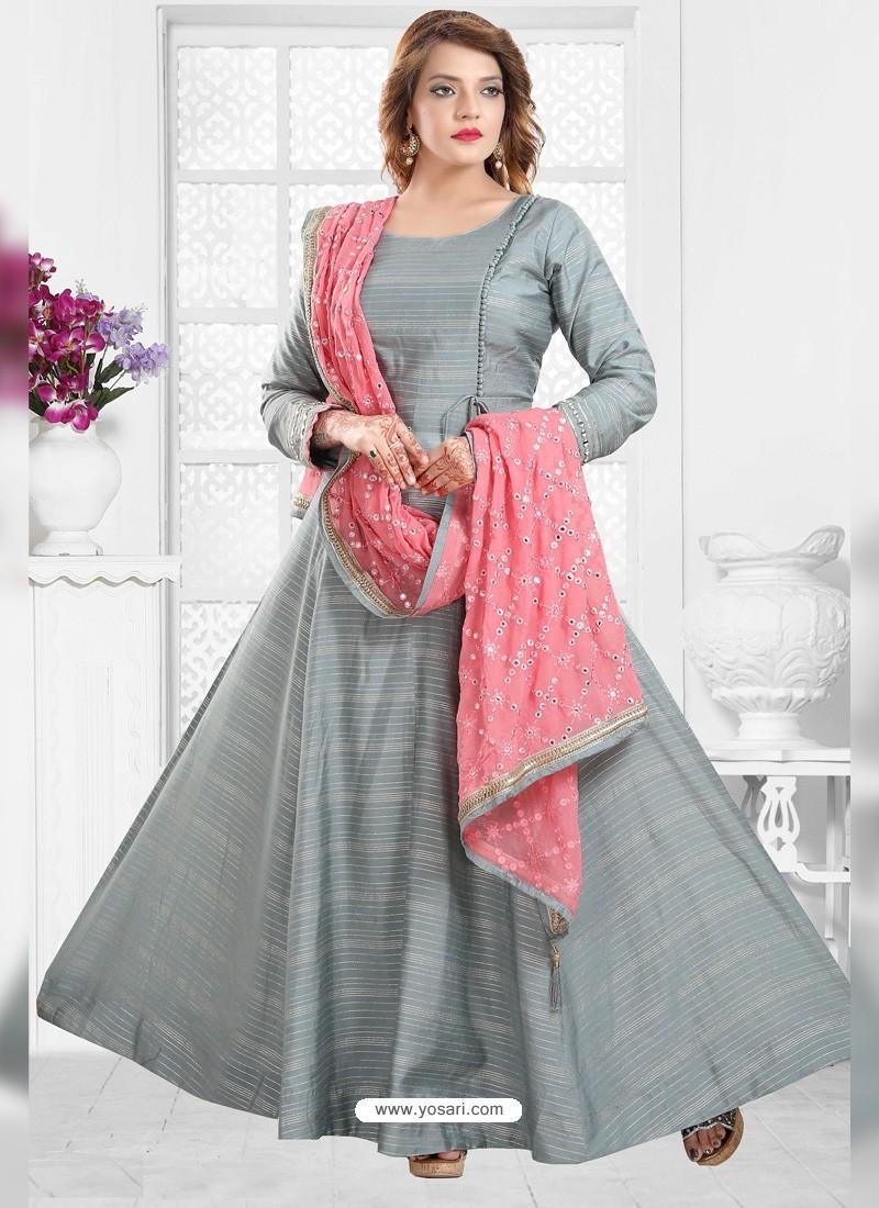 Grey Designer Readymade Party Wear Anarkali Suit