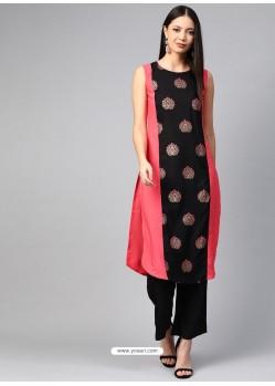 Black Designer Readymade Party Wear Crepe Kurti
