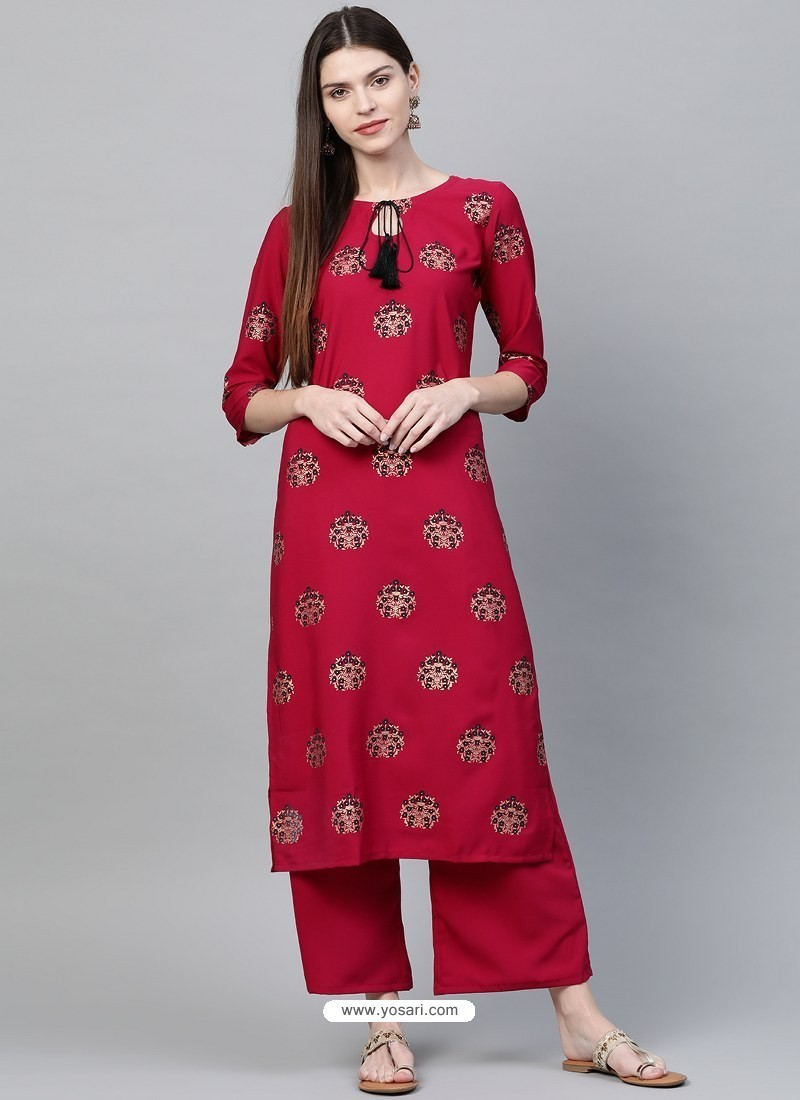Rose Red Designer Readymade Party Wear Crepe Kurti