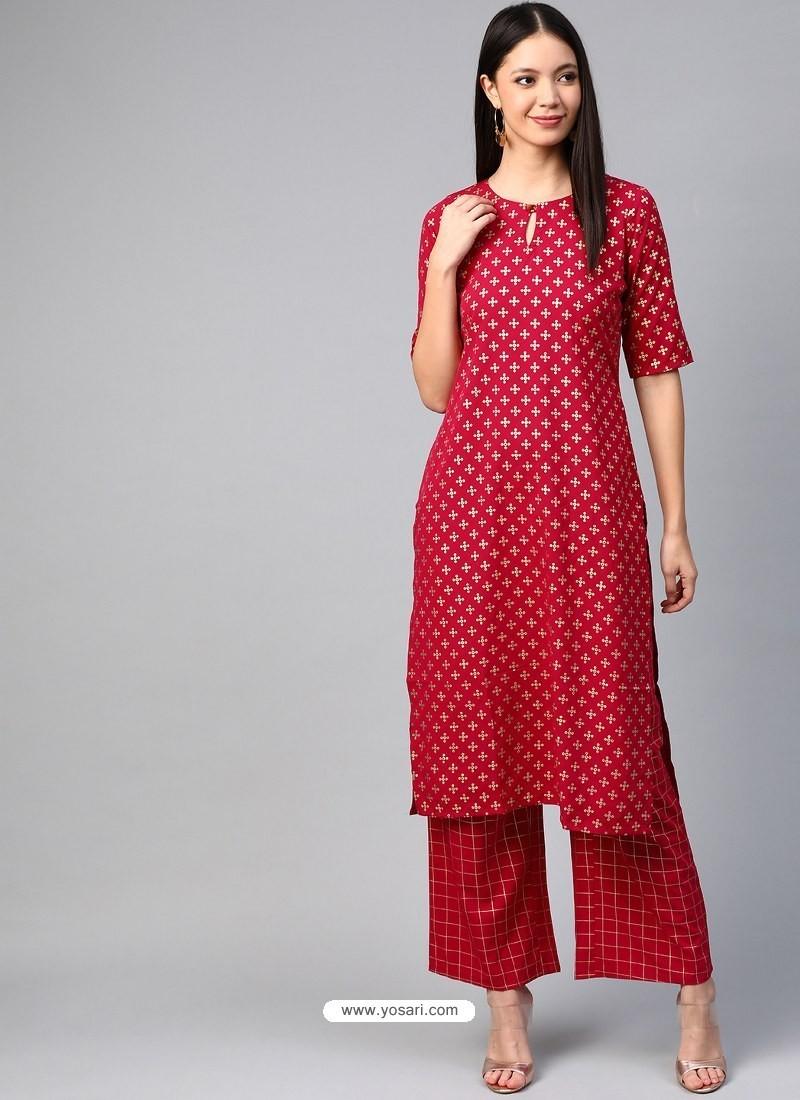 Tomato Red Designer Readymade Party Wear Crepe Kurti