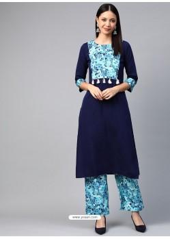 Navy Blue Designer Readymade Party Wear Crepe Kurti