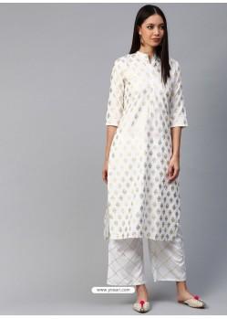 White Designer Readymade Party Wear Crepe Kurti
