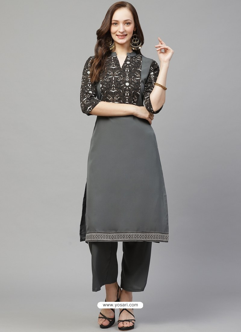 Grey Designer Readymade Party Wear Crepe Kurti