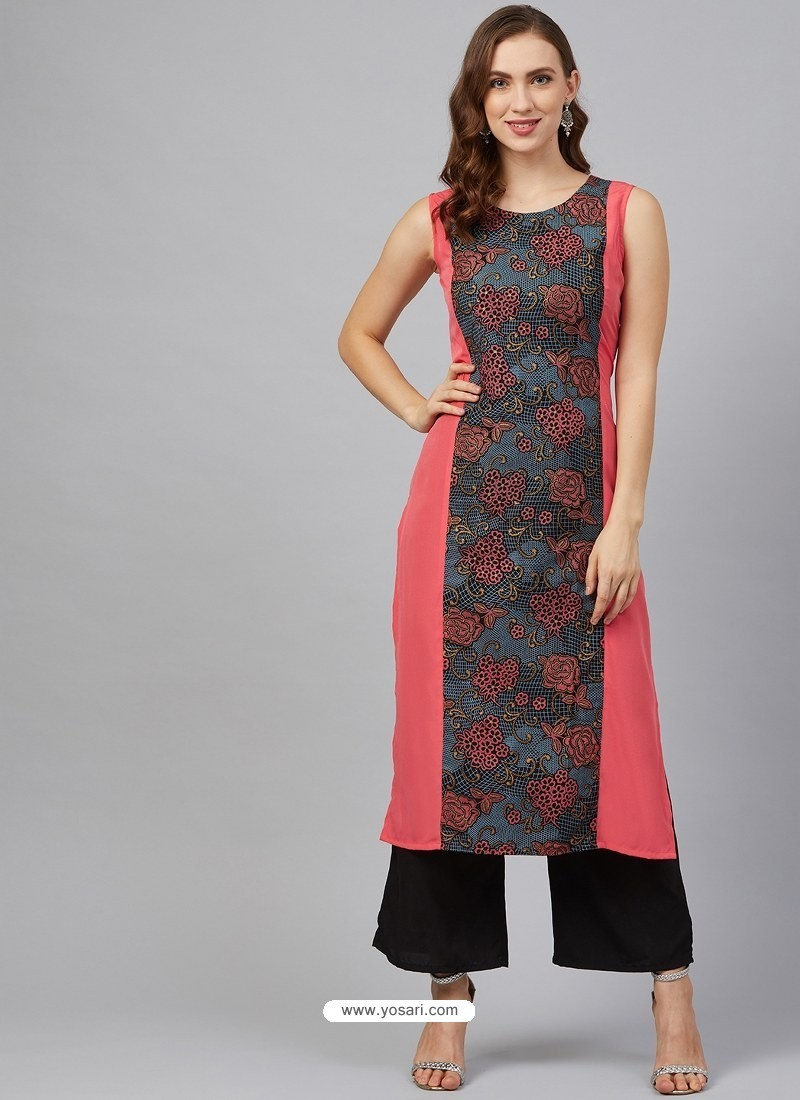 Multi Colour Designer Readymade Party Wear Crepe Kurti