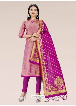 Pink Heavy Designer Banarasi Silk Straight Salwar Suit