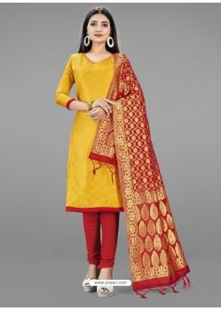 Yellow Heavy Designer Banarasi Silk Straight Salwar Suit